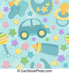 Seamless background with baby's toys in blue colors