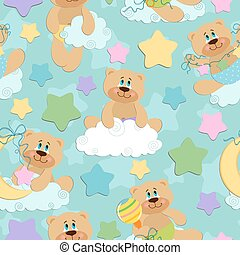 Seamless background for babies with bear toy
