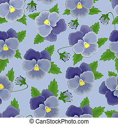Blue pansies seamless background - Seamless background with...
