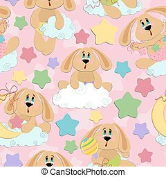 Seamless background for babies with bunny toy