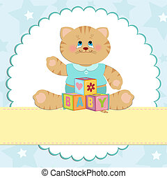 Baby's greetings card with kitty in blue colors