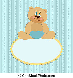 Baby greetings card with sitting teddy bear