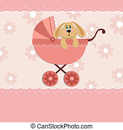 Baby greetings card with rabbit in pink stroller