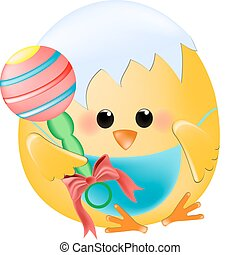 Chick baby with rattle - Vector chick baby with rattle