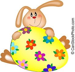 Easter bunny with a painted egg - Vector easter bunny with a...