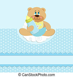 Baby's greetings card with bear cub and bottle in blue...