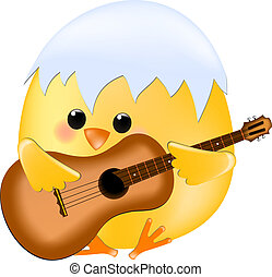 Chick with guitar - Vector chick with guitar
