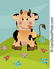 Cow grazing in the meadow - Cow grazing in the flower meadow