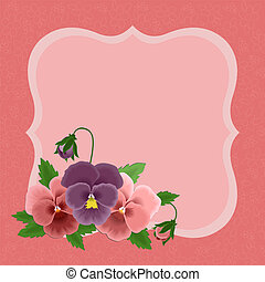 Greetings card for Mothers day - Greetings card with pansies...