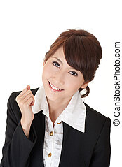 Cheerful business woman of Asian, closeup portrait on white.