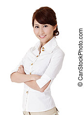 Smart business woman of Asian, closeup portrait on white...