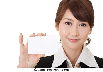 card - Young Asian business woman holding blank card,...