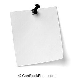 oficina, empresa / negocio, nota, papel, alfiler, empujón