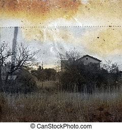 hazy memory - Abandoned rural house. Vintage print on...