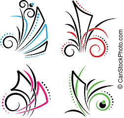 East swirl - New Set of Floral decoration of different...