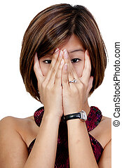 Beautiful Asian Woman - A beautiful young scared or...