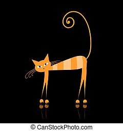 Funny orange striped cat for your design