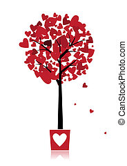 Tree of love in pot for your design