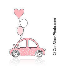 Pink female car with floral ornament and balloons for your...
