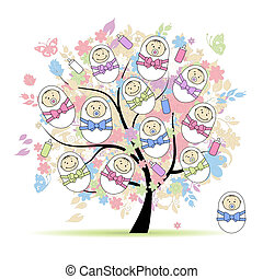 Floral tree with newborns for your design