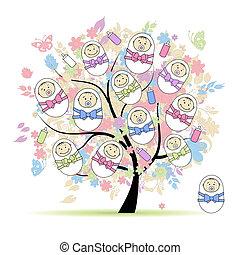 floreale, albero, neonati, tuo, disegno
