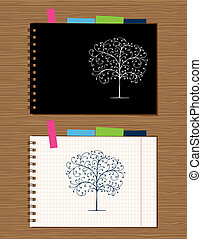 Notebook cover and page design on wooden background