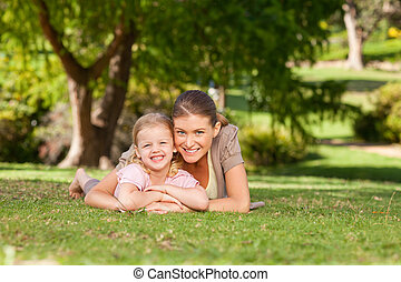 Daughter with her mother in the par