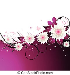 Pink Abstract Floral Background - Vector illustration of an...