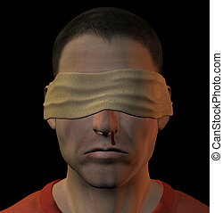 tortured blindfolded man - Tortured blindfolded man with...