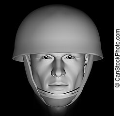 unknown soldier - Male soldier head portrait with dramatic...