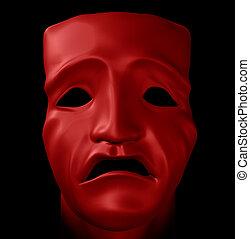 figure with tragedy mask - Figure with tragedy mask on black...