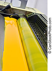 printing press yellow paint - Printing press with cmyk...