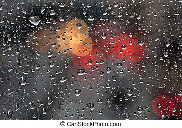 raindrops on glass background - Raindrops on glass surface...