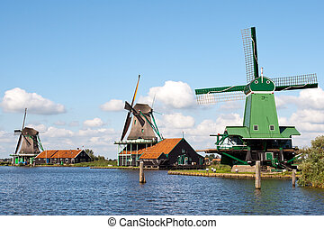 Zaanse Schans - Holland - Windmills at the Zaanse Schans in...