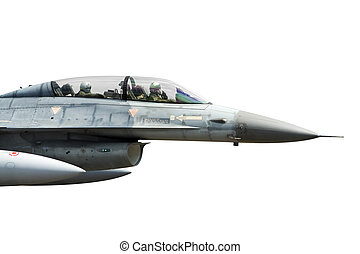 F-16 isolated - Jet fighter cockpit with two pilots isolated...