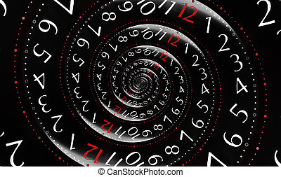 time - Infinity time on black background. With red colored...