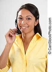 Telesales girl with headset - Good customer service by girl...