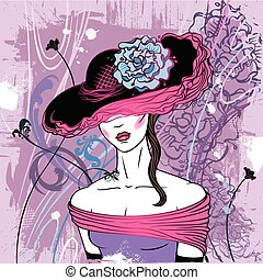 Lady in hat with flower - vector