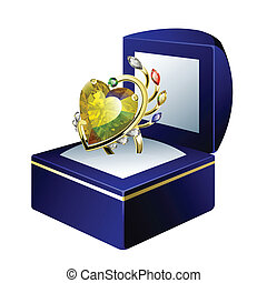 Vector ring in gift-box