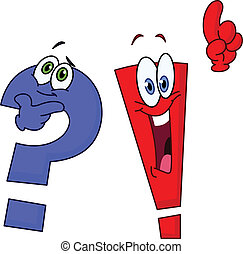 Question and exclamation marks - Cartoon question and...