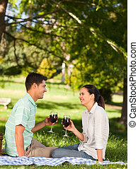 Young couple  picnicking in the park