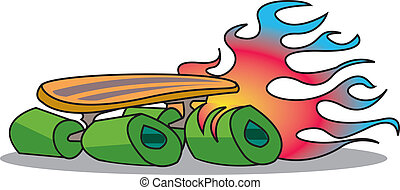 Skateboard - Retro or vintage skateboard with flames...