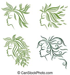 Vector set of girls hair from leafs