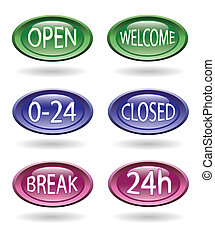Set of store signs - Set of shop or store signs - open,...