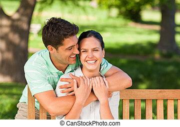 Man hugging his wife