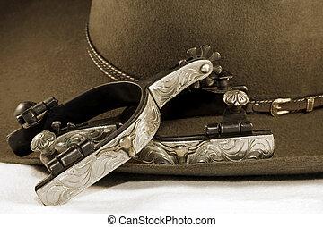 plata, espuelas, vaquero, sombrero