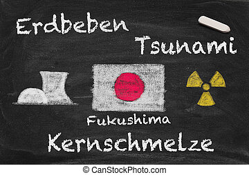 Fukushima meltdown - High resolution image with German chalk...