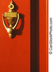 Red Door with Brass Knocker