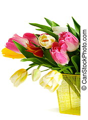 Bouquet of colorful spring tulips - Bouquet of colorful...