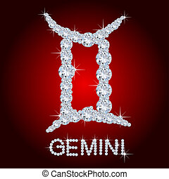 zodíaco, diamante, Géminis